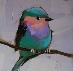 """Lavender-breasted Roller Bird no. 3 Painting"" - Original Fine Art for Sale - © Angela Moulton"