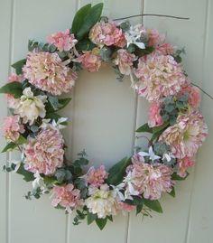 Summer Wreath spring wreath door wreath peone by DoorDecorShop, @ etsy.com $52.00