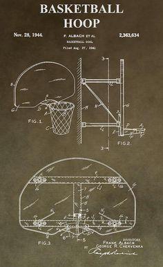 Vintage Basketball Hoop Patent Digital Art