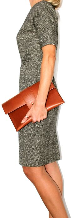 Leather Purse Bag the O-Series in Cognac Brown