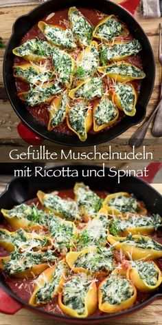 Stuffed pasta with ricotta and spinach is a wonderfully simple and tasty dish that is made quickly. The pasta shells (Italian: conchiglioni) are stuffed with ricotta cheese, parmesan cheese, spinach, Easy Dinner Recipes, Pasta Recipes, Soup Recipes, Vegetarian Recipes, Chicken Recipes, Easy Meals, Healthy Recipes, Queso Ricotta, Tasty Dishes