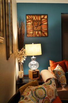Teal Accent Wall | Side Table And Teal Accent Wall · Orange Living ... Part 97