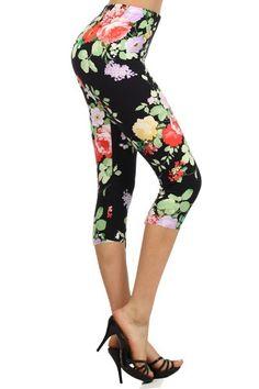 d938699ea453ac Leggings Depot Women's High Waist Floral Printed Leggings Pants (Garden Of  Eve)