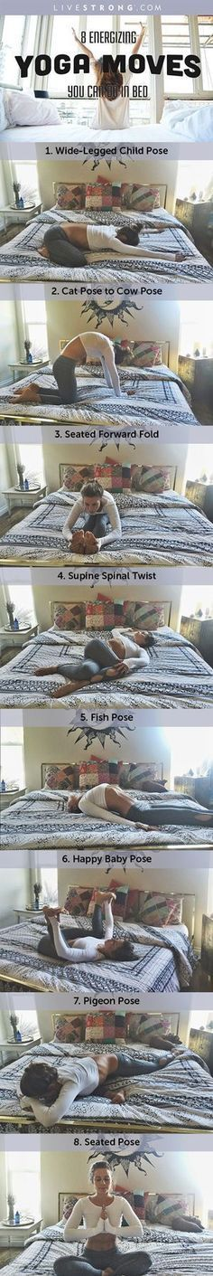 A workout that's a win-win: Philosophiemama demonstrates 8 energizing yoga moves you can do in bed.