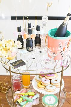 Cocktails and Donuts! But Freixenet champagne? Bring on the Veuve!