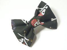 Dog Bow Tie - Pirate Bow Tie, Black Dog Bow Tie, Cat Bow Tie