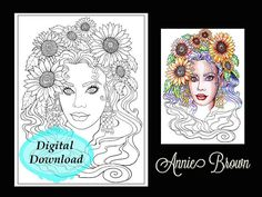 Adult coloring page Fantasy |Fantasy Coloring Page for Adults | Fantasy Coloring Digital Sunflower by Annie Brown | Brown Cottage Books