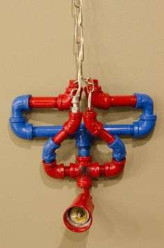 Picturn only (for Inspiration) Hanging upside down spiderman pipe lamp