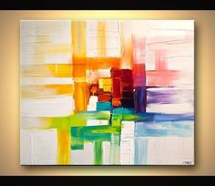 Original abstract art paintings by Osnat - colorful abstract painting modern palette knife - $440 #abstractart