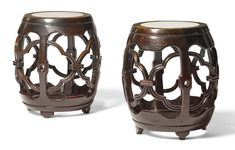 A PAIR OF MARBLE-INSET HONGMU STOOLS  QING DYNASTY, 19TH CENTURY