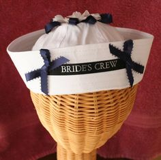 Sailor's HAT for your Bridesmaids perfect for a Nautical Bridal Shower, Rehearsal Dinner on Etsy, $24.95