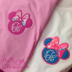 Minnie Bow Monogram Tee with Lilly Pulitzer or Patterned Fabric – Pretty Little Monograms