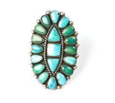 Grande bague de turquoise Navajo en argent et turquoises