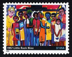 37 cents 1957 Little Rock Nine U.S. Postage Stamp, issued on August 30, 2005.