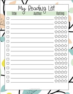 Add this reading list to your planner or book club binder to keep track of books you want to read and to rate them when you are finished. Bullet Journal Reading List, Bullet Journal 101, Creating A Bullet Journal, Book Journal, Journals, Study Planner, Planner Pages, Reading Lists, Book Lists