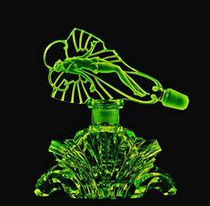 Fabulous Bohemian Art Deco Vaseline Glass Perfume Bottle