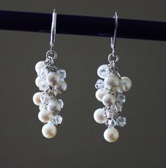 Bridal statement earrings, Genuine Fresh water pearl cluster drop earrings, Pearl and Swarovski crystal earring, Long Pearl earrings