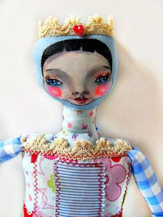 Cloth Art Doll handpainted Rag doll Queen Mona by ManonPopjes, $63.00