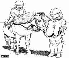 για ζωγραφική Κορίτσια ιππασίας ένα πόνυ