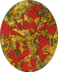 Ovale Part 1 - 40x50 cm -  Acrylique et pastel à l'huile sur toile