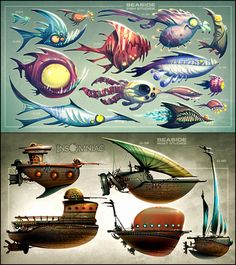 View an image titled 'Seaside Fish and Ships Art' in our Ratchet & Clank: All 4 One art gallery featuring official character designs, concept art, and promo pictures. Robot Concept Art, Creature Concept Art, Game Concept, Creature Design, Character Concept, Character Art, Sprites, Aliens, Cartoon Fish