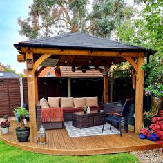 The Dunster House Atlas 3m x 3m is the perfect timber roofed gazebo to house your outdoor seating area or hot tub. Garden Buildings, Garden Structures, Wooden Gazebo, Timber Roof, Outdoor Seating Areas, Pergola, Deck, Cabin, Outdoor Decor
