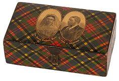 Tartanware box showing The Grand Duchess Marie and The Duke of Edinburgh.