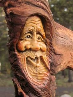 Tree Carving Wood Sculpture Rustic Spirit Knot Head Log Cabin Gnome Home Hobbit