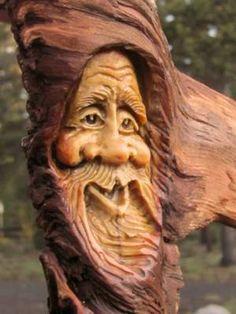 Tree Carving Wood Sculpture Rustic Spirit Knot Head Log Cabin Gnome Home Hobbit