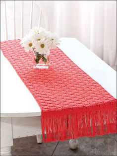 Home Decor Knitting - Table Treatment Knitting Patterns - Garden Party Table Runner