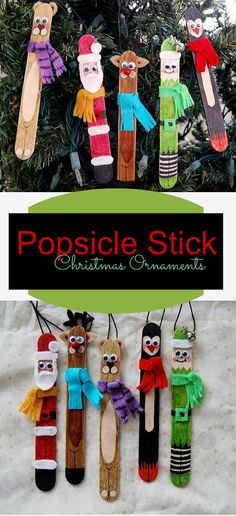 These popsicle stick ornaments are so very easy to create... a few markers and other bits and the kids will have hours of fun creating these characters.