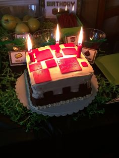 Our minecraft cake. We put 4 red candles together to look like TNT. Of course when we lit them, the 4 flames made a giant flame.