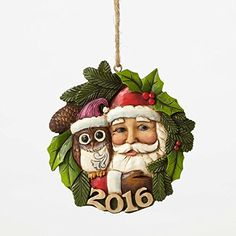 DEMDACO Botanical Santa Heart 8 x 10.5 Inch Metal Hanging Christmas Ornament