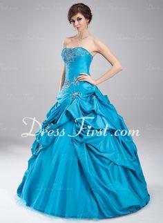 Duchesse-Linie Herzausschnitt Bodenlang Taft Tüll Quinceañera Kleid (Kleid für die Geburtstagsfeier) mit Bestickt Rüschen Perlstickerei (021...