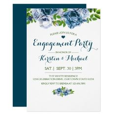 #party - #Navy Blue Floral | Engagement Party Invitation
