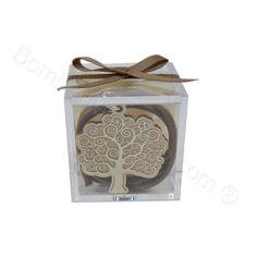 Ciondolo Albero della Vita in metallo argentato e legno confezionato