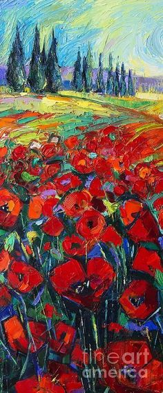 Field Of Poppies Modern Impressionism Palette Knife Oil Painting By Mona Edulesco Painting by Mona Edulesco #OilPaintingPalette #OilPaintingTexture