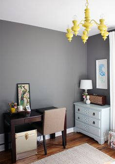 grey walls with a pop of yellow