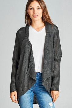 44ca907a50 Long sleeve open drape knit sweater cardigan w  pocket. Trendy Clothes For  WomenDrape ...