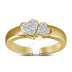 Yellow Gold Fn Adjustable Toe Ring Lovable Cuddling Hearts 925 Sterling Silver  #br925silverczjewelry #ToeRing