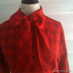 Vintage Blouse  1970s Red and Black by runaroundsuevintage on Etsy, $24.00