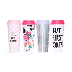 STYLE: but first, coffee we didn't want to leave your hot beverages out in the cold, they deserve some style too! our thermal mugs will keep your tea or coffee totally warm and cozy while you get to l Coffee Thermos, Coffee Cups, Coffee Coffee, Coffee Break, Coffee Maker, Thermo Mug, Thermal Travel Mug, Travel Mugs, Coffee Travel