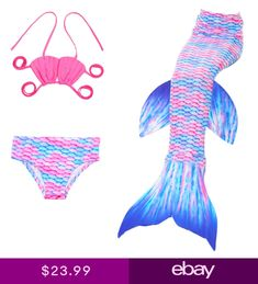 196766a81cba2 3PC Childrens Mermaid Tail Swimsuit Swimwear Swimming Bathing Outfit   O115
