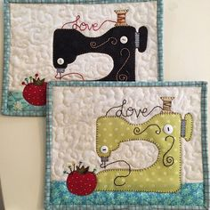 Diy Sewing Projects Sew in Love Sewing Machine Mug Rug PDF Pattern from Quilt Sewing Hacks, Sewing Tutorials, Sewing Tips, Sewing Basics, Sewing Ideas, Quilting, Leftover Fabric, Love Sewing, Sewing Art
