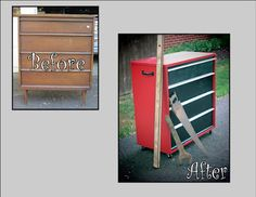 turn an old dresser into a Craftsman tool chest!