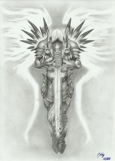 Tyrael - by grace of god by LeyuArt.Gods Grace is Sufficient.Never insufficient funding! Tattoo Sketches, Tattoo Drawings, Body Art Tattoos, Sleeve Tattoos, Wing Tattoos, Tatoos, Future Tattoos, Tattoos For Guys, Archangel Michael Tattoo