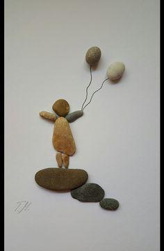 Weiteres - Steinbild *Mädchen mit Ballons* - ein Designerstück von TAMIKRA-Art bei DaWanda