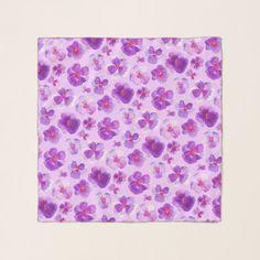 Pansy viola purple watercolor art pattern scarf - watercolor gifts style unique ideas diy