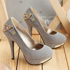 Women's High-Heeled Shoes with Chain,Thin High Heel Platform Pumps