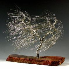 Windswept Silver Wire Tree Sculpture -1285 by Omer Huremovic - Windswept Silver Wire Tree Sculpture -1285 Sculpture - Windswept Silver Wire Tree Sculpture -1285 Fine Art Prints and Posters for Sale